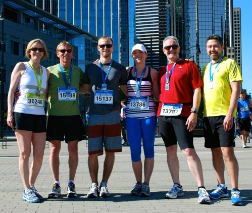 After the 2013 Vancouver Half-Marathon (me in Red)