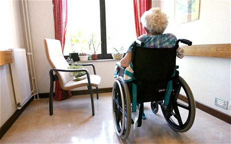Woman in care home