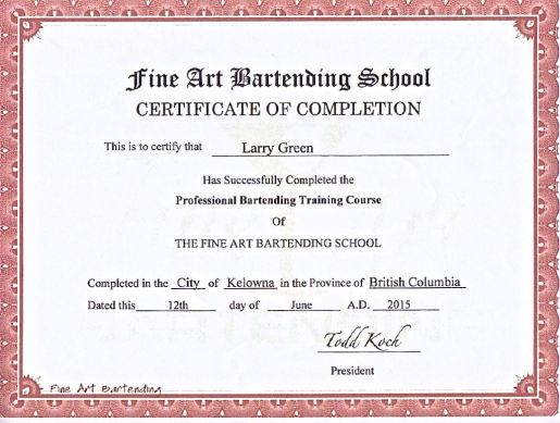 Bartending Certificate