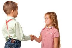 boy and girl shake hands