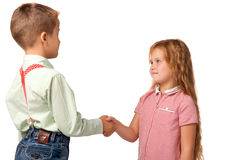 boy and girl shake hands
