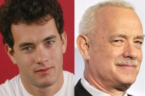old and young tom hanks