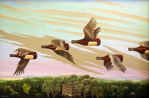 flying wine bottles