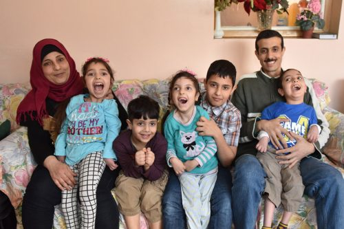 happy syrian family