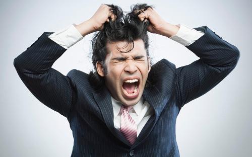 man pulling hair