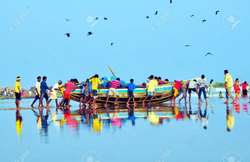 Fishermen preparing for fishing